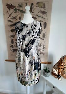 Mint Velvet 10 Womens Silk Dress Abstract Sleeveless Lined Draped Gorgeous Party