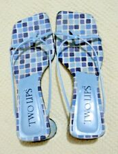TWO LIPS Blue CHECKERED Tiles Pattern Kitten Heels/Mules Sandals Size 6 M