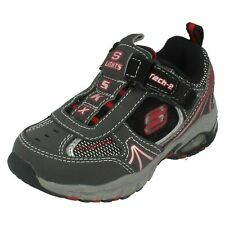 BOYS SKECHERS SPASTIC 90403 HOOK AND LOOP LIGHT UP EVERYDAY  LEATHER TRAINERS