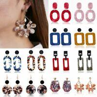 Women Fashion Hollow Geometric Earrings Stud Triangle Long Tassel Drop Dangle