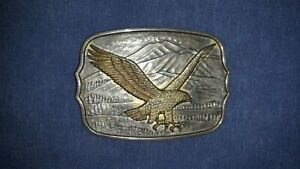 Vintage Gold and Silver Toned Flying Eagle Belt Buckle #A 1321 Made in Hong Kong
