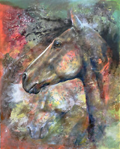 Signed Limited Edition Hand signed canvas print Equine Art Horse Western paint 2