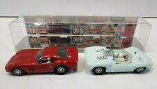MARX 1/24 VINTAGE RED FERRARI & LIGHT BLUE CHAPARRAL SLOT CARS LOT OF 2