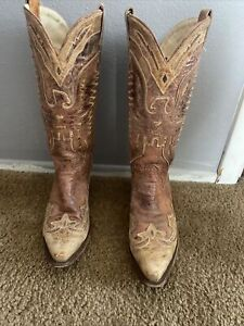 Womens Ladies Cowgirl Cowboy Boots Mid Wide Calf Western Shoes Size 8 1/2 M