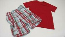 Gymboree Baseball Champ Red/Blue Plaid Shorts Red T-Shirt Size 7 Euc Tl101