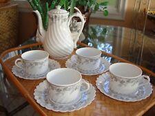 "VINTAGE HAVILAND LIMOGES ""VALMONT"" TEA / COFFEE SET, 4 CUPS & POT, WHITE GOLD"