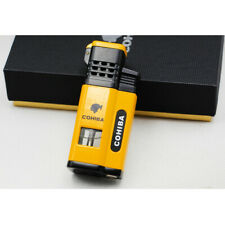 Cohiba Yellow Cigar Cigarette Metal 4 Torch Jet Flame Lighter With Punch