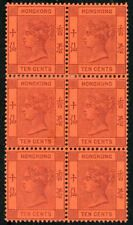 Hong Kong 1891 10c purple on red MH block of six SG 38, Cat. £270 as singles