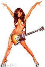 Sexy Brunette Pinup Wearing a Guitar and a Smile Vinyl Decal Sticker OOP Rare
