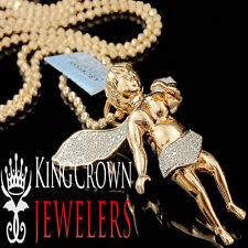 Genuine Diamond 10K Rose Gold Finish Praying Angel Wings Pendant Charm 0.40 Ct.