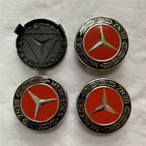 4x For Mercedes Benz Wheel Center Caps Emblem Chrome Logo Badge 75MM C Class CLA