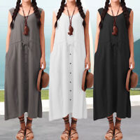 Summer Women Sleeveless Beach Dress Maxi Cover Up Holiday Long Sundress Size8-26
