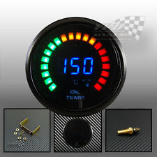 "LED digital oil temprature gauge 2"" / 52mm smoked face with volt universal fit"