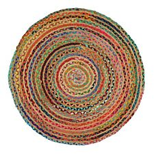 """Braided Area Rugs Hand Woven Jute Eco Friendly Carpet Reversible Chindi Rugs 36"""""""