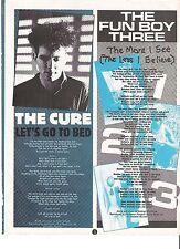 "CURE  Lets Go To Bed lyrics Fun Boy Three  magazine PHOTO  11x8"""