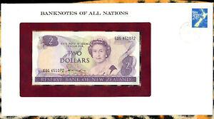 Banknotes of All Nations New Zealand 2 Dollars 1981 UNC P-170a prefix EDG