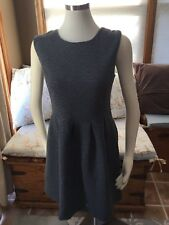 Ann Taylor Loft Gray Quilted Pleated Dress 8 Excellent