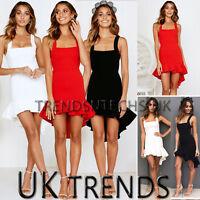 Womens Frill Mini Dress Asymmetric Pleated Bodycon Ruffle Christmas UK Size 6-14