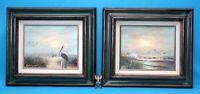 2 Vintage Edmonson Oil Canvas Paintings Seascape Waves Birds Signed Framed