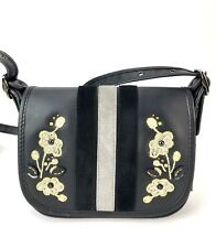 NWT COACH  PATRICIA SADDLE BAG 18 VARSITY STRIP LEATHER W/FLORAL EMBROIDERY $395