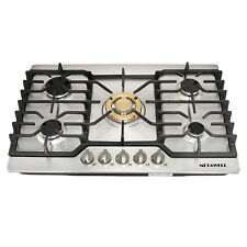 "Cooker Stoves Cooktops 30"" Stainless Steel Gold Built-in 5 Burner Ng/Lpg Gas Hob"