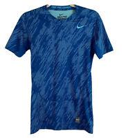 Nike Pro Combat Dri - Fit Women's Shirt Short Sleeve Crew Neck Blue Size Medium