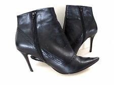 Franco Sarto High Heel Ankle Black Booties Zig Zag Pointy Toe Zipper Shoes 9.5 M
