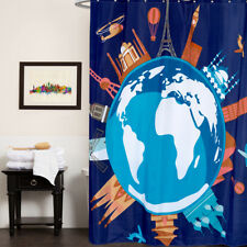 100% Polyester Fabric Shower Curtain Our World Print 70