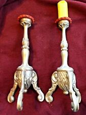 PAIR OF GERMAN 18TH CENTURY BAROQUE CANDLESTICKS CARVED WOOD