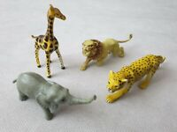 AAA Rubber Animal Figurine Models Cheetah Elephant Giraffe Lion 1988 1980s
