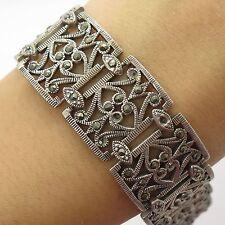 """925 Sterling Silver Natural Marcasite Gemstone Wide Openwork Link Bracelet 7"""""""