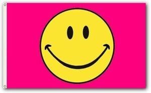 PringCor 3x5FT Flag Pink Happy Smiley Face Banner Dorm Bedroom Advertising USA