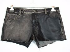 FB SISTER Womens New Black Denim & Faux Leather Sexy Jeans Hot Pants sz XL BA13