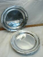 """Set 4 Shiny Wilton Armetale Queen Anne Pewter Dinner Plates Dishes 12"""""""