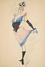 Dessin original encre-aquarelle vers 1900 signé, Danseuse dans le goût de CHERET