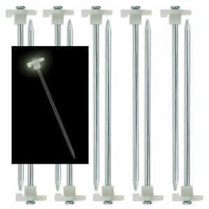 """100 Pack Pieces STEEL Tent Canopy GLOW IN THE DARK! Stakes Pegs 10"""" WHOLESALE!"""