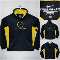 Nike Therma Fit Livestrong Mens Medium Hoodie Pullover Sweatshirt Black Yellow