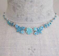 PILGRIM Vintage Necklace ENCHANTED FLOWER Silver Aqua Blue Pearl Swarovski BNWT