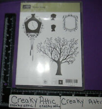 STAMPIN UP FOREVER YOUNG 5 CLING RUBBER STAMPS TREE SWING CLOCK SILHOUETTES