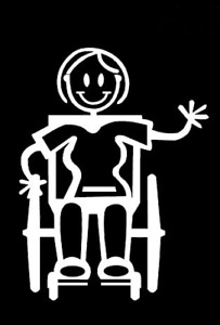 MY STICK FIGURE FAMILY Disabled Car Window Stickers Female Wheelchair F20