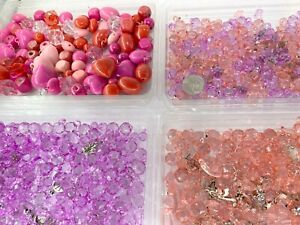 Resin Beads Bulk Jewelry Making Plastic Beads Mix Shape Color 1 lbs Value Pink