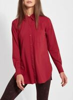 Lysse Schiffer Button Down Shirt Size Small Women Blouse Ruby Red Stretch Smooth