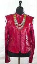 Women's Moto Jacket Cranberry Leatherette Size 6-8