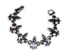 BRACELET ST Antiqued Links Saints New Orleans Mardi Gras ORNATE FLEUR DE LIS