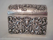 "Dutch Silver Heavy Relief  Wedding? Box Casket Chest 4"" 833 BIV signed Marriage"