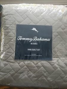 Tommy Bahama King Solid Pelican Quilt Sham Set Gray