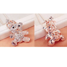 Crown Necklace Silver/gold Tone Stunning Huge Crystal Bear With