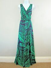 "Boden Dress 14L Maxi Jersey stretch 59"" long Floral Purple Green Palm Print"