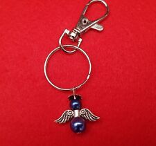 Handmade Guardian Angel Lobster Clasp Keyring made with blue beads