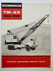 dominion tm-25 truck crane vintage dealers brochure 1960 earthmoving